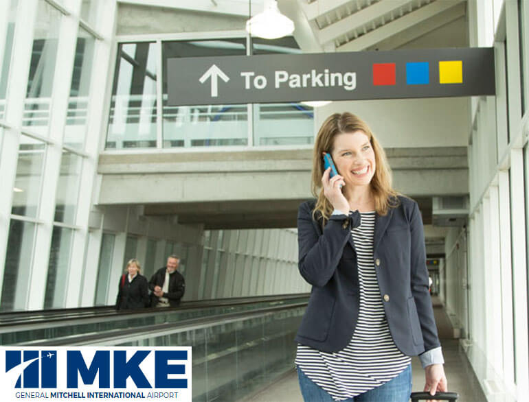 Mitchell airport real-time parking Milwaukee default