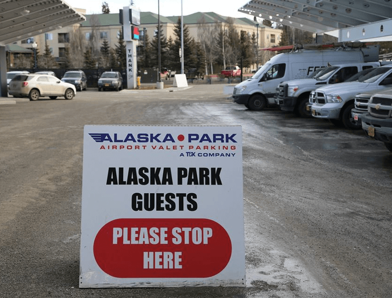 anchorage alaska park airport valet parking logo